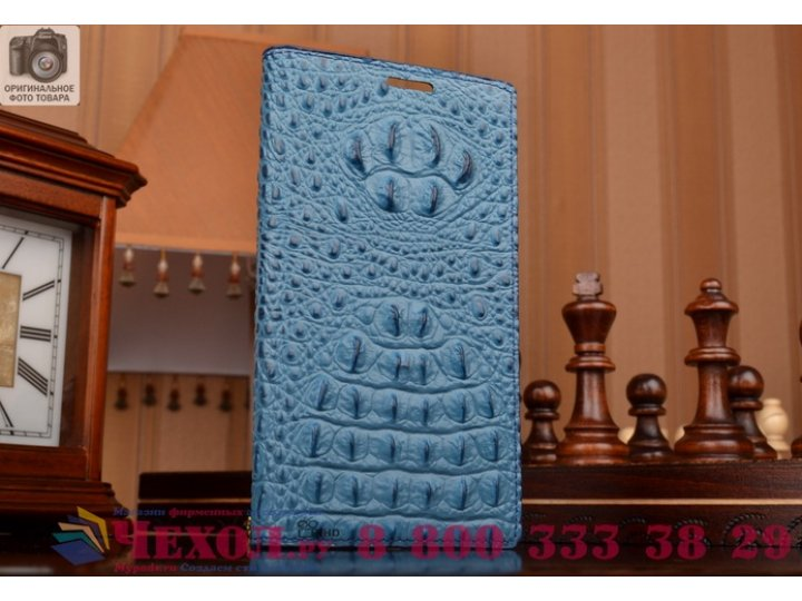 Фирменный роскошный эксклюзивный чехол с объёмным 3D изображением рельефа кожи крокодила синий для Huawei Enjo..