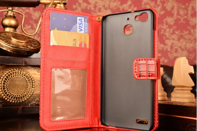 Фирменный чехол-книжка с подставкой для Huawei G8 mini / Huawei Enjoy 5S лаковая кожа крокодила красный