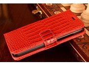Фирменный чехол-книжка с подставкой для Huawei G8 mini / Huawei Enjoy 5S лаковая кожа крокодила красный..