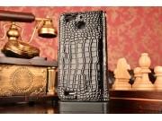 Фирменный чехол-книжка с подставкой для Huawei G8 mini / Huawei Enjoy 5S лаковая кожа крокодила черный..
