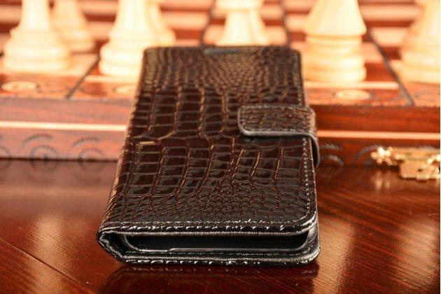 Фирменный чехол-книжка с подставкой для Huawei G8 mini / Huawei Enjoy 5S лаковая кожа крокодила черный