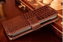 Фирменный чехол-книжка с подставкой для Huawei G8 mini / Huawei Enjoy 5S лаковая кожа крокодила коричневый