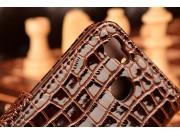 Фирменный чехол-книжка с подставкой для Huawei G8 mini / Huawei Enjoy 5S лаковая кожа крокодила коричневый..