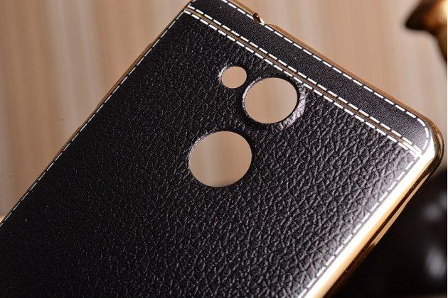 Фирменная премиальная элитная крышка-накладка на Huawei Enjoy 6S / Nova Smart 5.0/Huawei Honor 6C коричневая из качественного силикона с дизайном под кожу