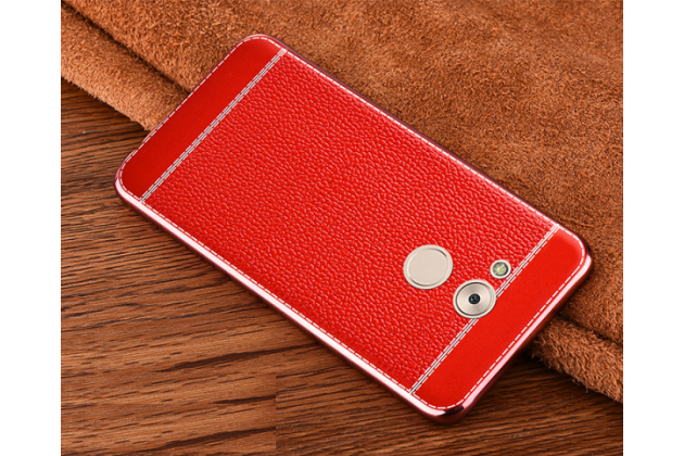 Фирменная премиальная элитная крышка-накладка на Huawei Enjoy 6S / Nova Smart 5.0/Huawei Honor 6C красная из качественного силикона с дизайном под кожу