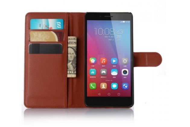 Фирменный чехол-книжка из качественной импортной кожи с подставкой застёжкой и визитницей для Хюавей Джи 628 /Huawei G628  коричневый