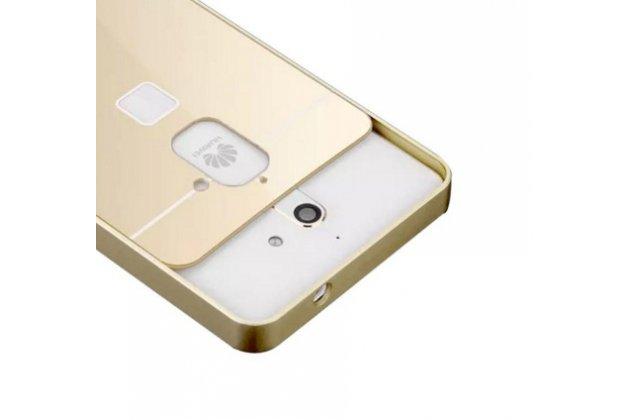 Фирменная металлическая задняя панель-крышка-накладка из тончайшего облегченного авиационного алюминия для Huawei G628 золотая