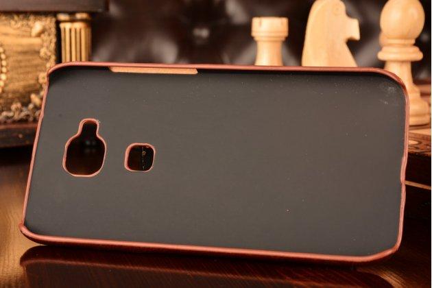 Фирменная роскошная элитная премиальная задняя панель-крышка для Huawei Ascend G8/G7 Plus/GX8 из качественной кожи буйвола с визитницей коричневая