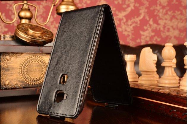 """Фирменный оригинальный вертикальный откидной чехол-флип для Huawei Ascend G8/G7 Plus/GX8 черный из натуральной кожи """"Prestige"""" Италия"""