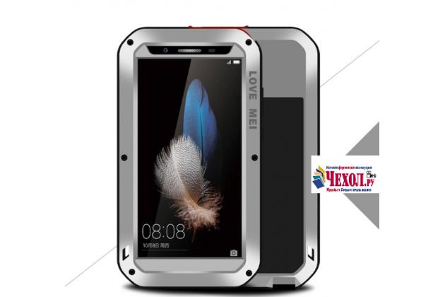 """Неубиваемый водостойкий противоударный водонепроницаемый грязестойкий влагозащитный ударопрочный фирменный чехол-бампер для Huawei G8 mini / Huawei Enjoy 5S"""" цельно-металлический со стеклом Gorilla Glass серебряный"""