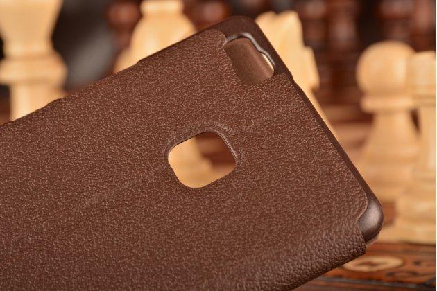 """Фирменный чехол-книжка для Huawei P9 Lite / G9 / Dual Sim LTE (VNS-L21 / VNS-TL00/DL00) 5.2"""" коричневый с окошком для входящих вызовов и свайпом водоотталкивающий"""