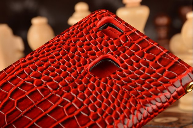 """Фирменный чехол-книжка с подставкой для  Huawei P9 Lite / G9 / Dual Sim LTE (VNS-L21 / VNS-TL00/DL00) 5.2""""  лаковая кожа крокодила алый огненный красный"""