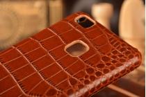 """Фирменная роскошная эксклюзивная накладка с объёмным 3D изображением рельефа кожи крокодила коричневая для Huawei P9 Lite / G9 / Dual Sim LTE (VNS-L21 / VNS-TL00/DL00) 5.2"""". Только в нашем магазине. Количество ограничено"""