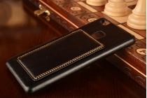 """Фирменная роскошная элитная премиальная задняя панель-крышка для Huawei P9 Lite / G9 / Dual Sim LTE (VNS-L21 / VNS-TL00/DL00) 5.2"""" из качественной кожи буйвола с визитницей черная"""