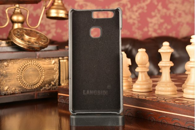 """Фирменная роскошная эксклюзивная накладка  из натуральной рыбьей кожи СКАТА (с жемчужным блеском) черная для Huawei P9 + Plus (VIE-AL10 ) 5.5"""" .Только в нашем магазине. Количество ограничено"""