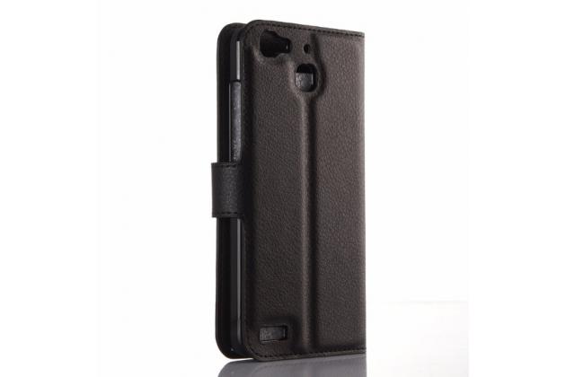 """Фирменный чехол-книжка из качественной импортной кожи с подставкой застёжкой и визитницей для Хуавей ГР3 Дуал Сим ЛТЕ (ТАГ-Л21) 5.0"""" черный"""