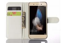 """Фирменный чехол-книжка из качественной импортной кожи с подставкой застёжкой и визитницей для Huawei GR3 Dual Sim LTE (TAG-L21) 5.0"""" белый"""