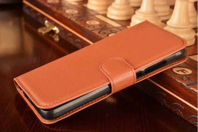 """Фирменный чехол-книжка из качественной импортной кожи с подставкой застёжкой и визитницей для Huawei GR3 Dual Sim LTE (TAG-L21) 5.0""""  коричневый"""