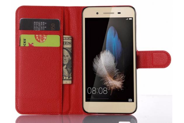 """Фирменный чехол-книжка из качественной импортной кожи с подставкой застёжкой и визитницей для Huawei GR3 Dual Sim LTE (TAG-L21) 5.0"""" красный"""