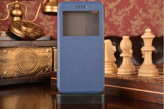 """Фирменный оригинальный чехол-книжка для Huawei GR3 Dual Sim LTE (TAG-L21) 5.0"""" синий с окошком для входящих вызовов водоотталкивающий"""