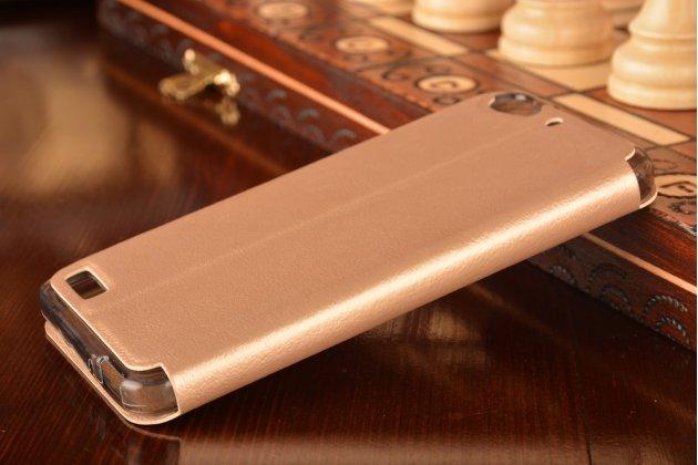 """Фирменный оригинальный чехол-книжка для Huawei GR3 Dual Sim LTE (TAG-L21) 5.0"""" золотой с окошком для входящих вызовов водоотталкивающий"""