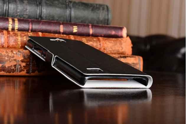 Фирменный оригинальный чехол-книжка для Huawei Honor 3C черный кожаный с окошком для входящих вызовов и свайпом