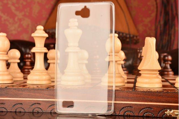 Фирменная ультра-тонкая полимерная из мягкого качественного силикона задняя панель-чехол-накладка для Huawei Honor 3C  прозрачная
