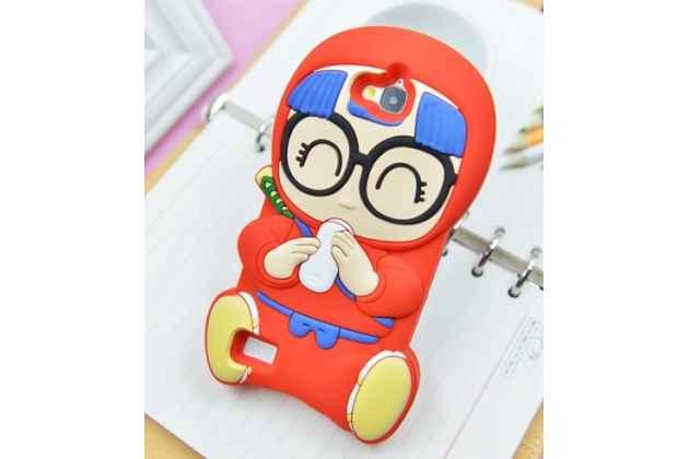 """Фирменная задняя панель-чехол-накладка с объёмным 3D изображением для Huawei Honor 3C """"тематика веселая Бабка в очках"""" красная"""