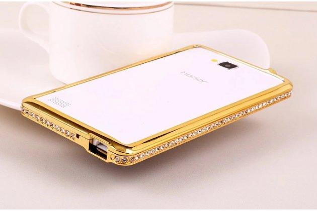 Фирменный оригинальный ультра-тонкий чехол-бампер для Huawei Honor 3C золотой металлический