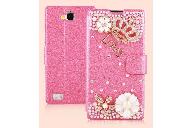 Фирменный роскошный чехол-книжка безумно красивый декорированный бусинками и кристаликами на Huawei Honor 3C