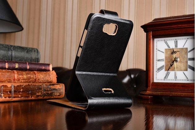 """Фирменный оригинальный вертикальный откидной чехол-флип для Huawei Honor Glory Play 3C черный кожаный """"Prestige"""" Италия"""