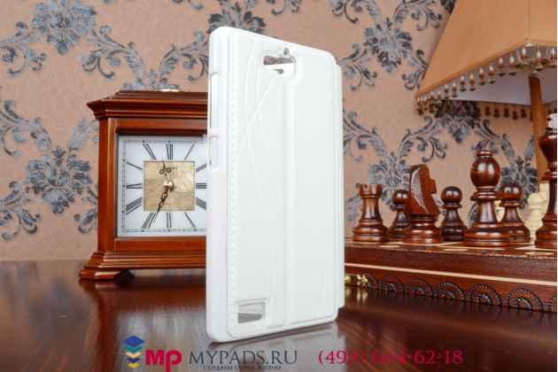 Фирменный оригинальный чехол-книжка для Huawei Honor 3C белый кожаный с окошком для входящих вызовов