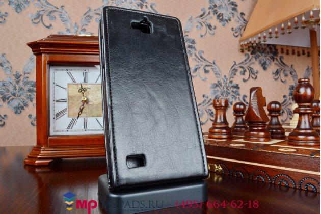 """Фирменный оригинальный вертикальный откидной чехол-флип для Huawei Honor 3C черный из качественной импортной кожи """"Prestige"""" Италия"""