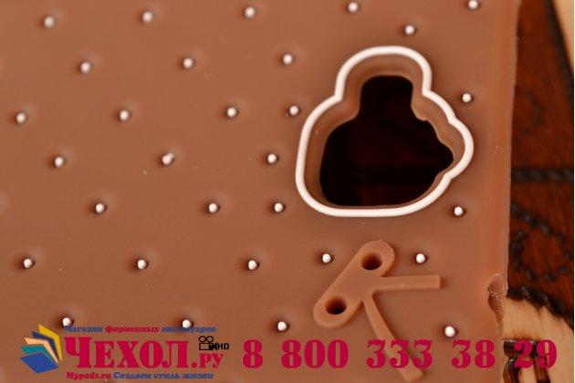 """Фирменная необычная уникальная полимерная мягкая задняя панель-чехол-накладка для Huawei Honor 3C """"тематика Андроид в тёмном Шоколаде"""""""