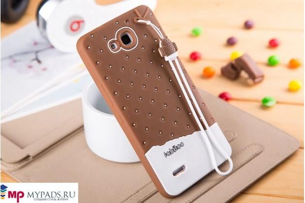 """Фирменная необычная уникальная полимерная мягкая задняя панель-чехол-накладка для Huawei Honor 3X """"тематика Андроид в тёмном Шоколаде"""""""