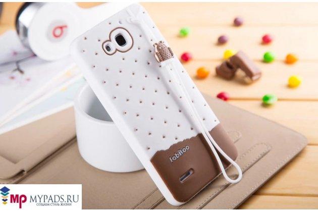 """Фирменная необычная уникальная полимерная мягкая задняя панель-чехол-накладка для Huawei Honor 3X """"тематика Андроид в Белом Шоколаде"""""""
