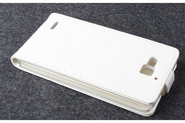 """Фирменный оригинальный вертикальный откидной чехол-флип для Huawei Honor 3X белый из качественной импортной кожи """"Prestige"""" Италия"""