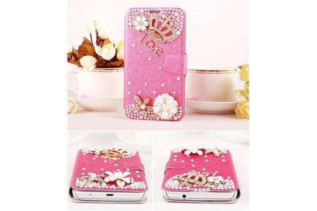 Фирменный роскошный чехол-книжка безумно красивый декорированный бусинками и кристаликами на Huawei Honor 3X