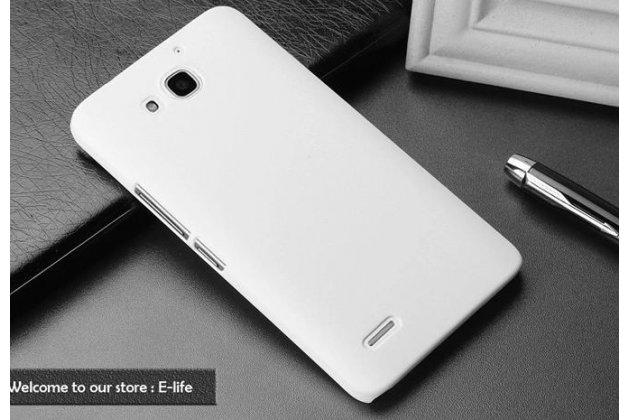 Фирменная задняя панель-крышка-накладка из тончайшего и прочного пластика для Huawei Honor 3X белая