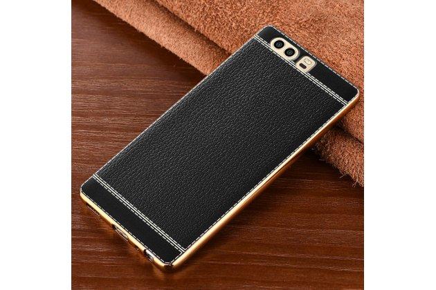 Фирменная премиальная элитная крышка-накладка из качественного силикона с дизайном под кожу для Huawei Honor 3X  черная