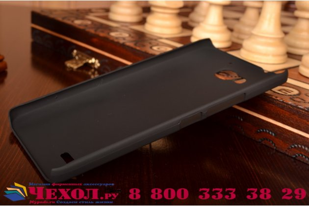 Фирменная задняя панель-крышка-накладка из тончайшего и прочного пластика для Huawei Honor 3X черная