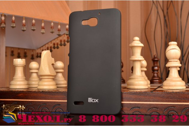 Фирменная задняя панель-крышка-накладка из тончайшего и прочного силикона для Huawei Honor 3X черная