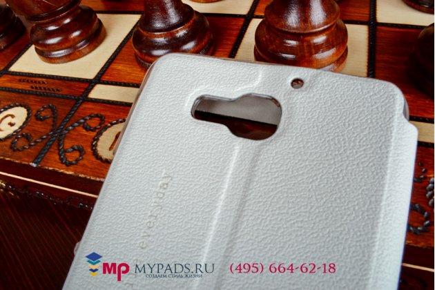 Фирменный оригинальный чехол-книжка для Huawei Honor 3X белый кожаный с окошком для входящих вызовов