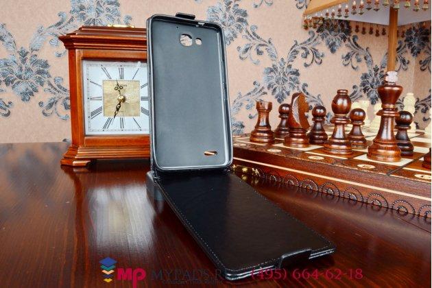"""Фирменный вертикальный откидной чехол-флип для Huawei Honor 3X из качественной импортной кожи черный """"Prestige"""" Италия"""