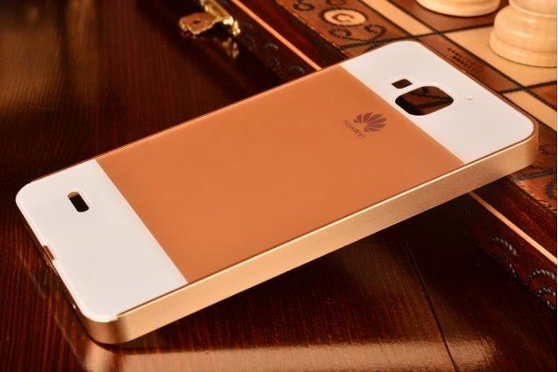 Фирменная металлическая задняя панель-крышка-накладка из тончайшего облегченного авиационного алюминия для Huawei Honor 3X золотая