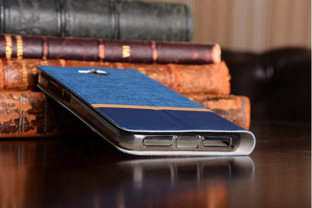 """Фирменный чехол-книжка с подставкой для Huawei Enjoy 5 (TIT-AL00)/Y6 Pro/Honor 4C Pro (TIT-L01) 5.0"""" синий с золотой полосой"""