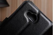 """Фирменный чехол-книжка из качественной импортной кожи с подставкой застёжкой и визитницей для Хуавей У3 2(II)/ У3 2(II) ЛТЕ (ЛУА-Л21) 4.5 """" черный"""