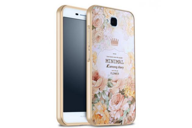 """Фирменная роскошная задняя панель-чехол-накладка из металла с объемным  3D изображением  на Huawei Honor 4C Pro (TIT-L01) 5.0 с безумно красивым рисунком  """"Тематика Королевские Цветы"""""""