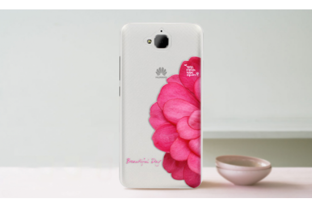 """Фирменная задняя панель-чехол-накладка из прозрачного 3D  силикона с  объёмным рисунком для Huawei Honor 4C Pro (TIT-L01) 5.0"""" тематика """"Алый цветок"""" которая огибает логотип чтобы была видна марка телефона"""