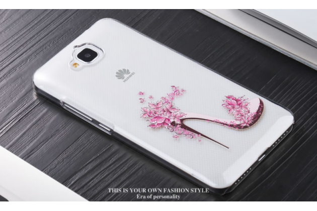 """Фирменная задняя панель-чехол-накладка из прозрачного 3D  силикона с  объёмным рисунком для Huawei Honor 4C Pro (TIT-L01) 5.0"""" тематика """"изящная туфелька"""" которая огибает логотип чтобы была видна марка телефона"""